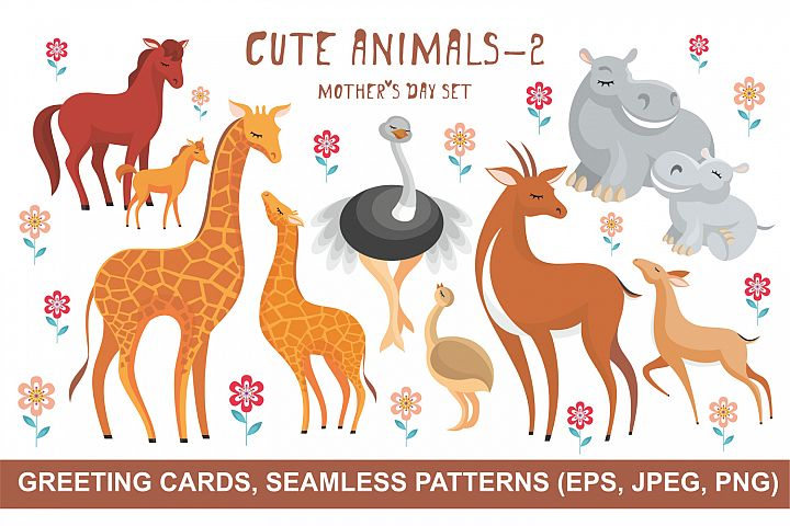 Cute animals - 2. Mothers Day set.