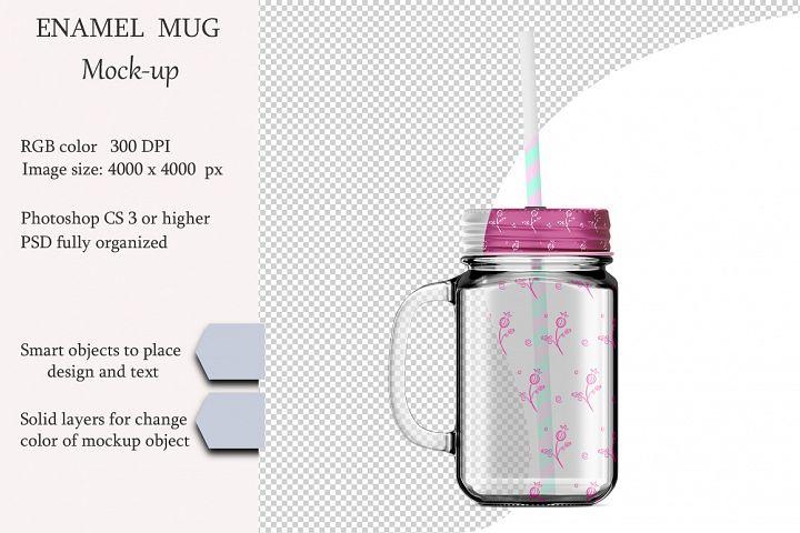 Mason jug mockup. Product place. PSD object mockup.