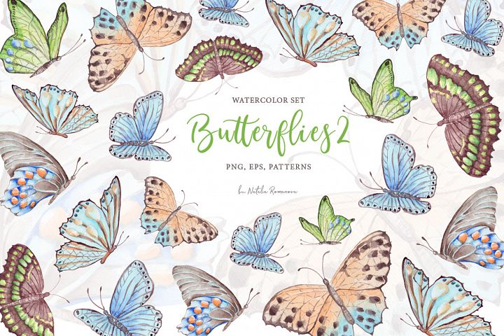 Watercolor butterflies 2