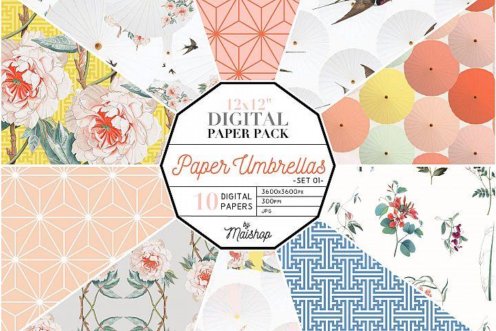 Digital Paper Pack Paper Umbrellas Set 01