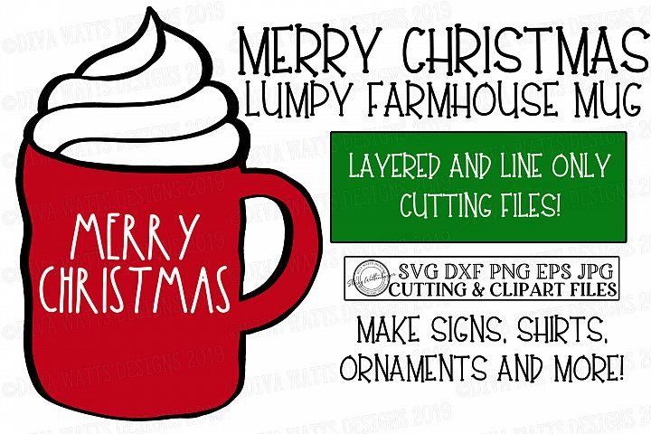 Merry Christmas Red Lumpy Farmhouse Mug - Cutting File