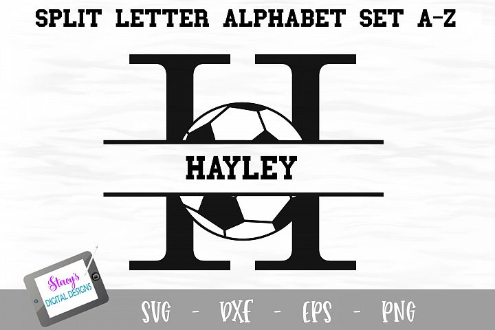 Split Letters A-Z - 26 Split Monogram soccer SVG alphabet