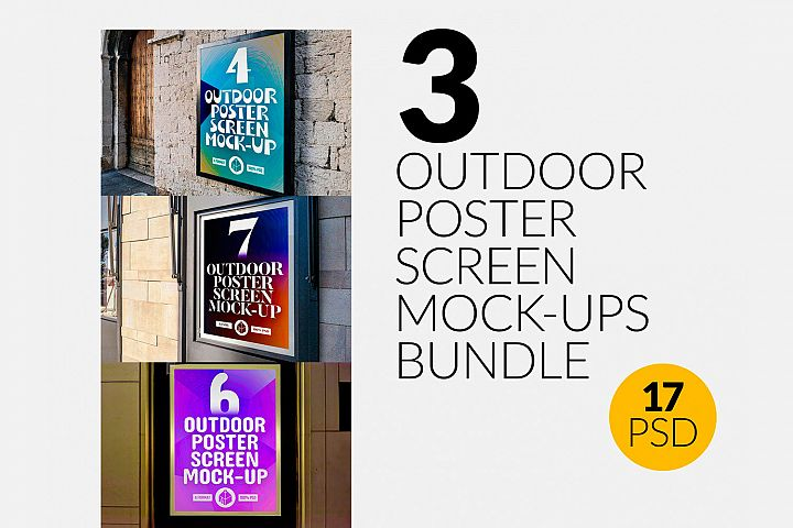 3 Outdoor Poster Screen Mock-Ups Bundle