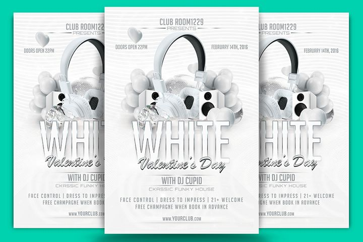White Valentine Day Flyer Template & Facebook Cover