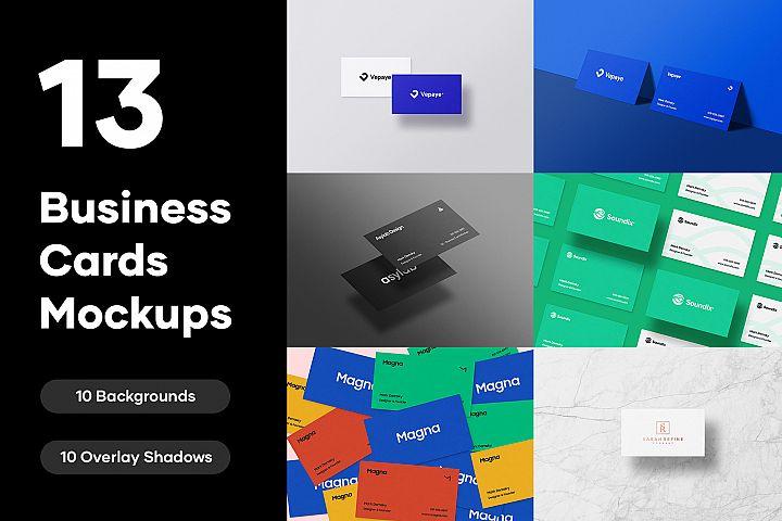13 Premium Business Cards Mockups - PSD