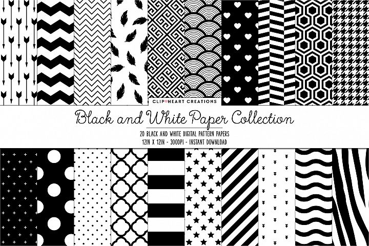 Black & White Pattern Digital Papers - 20 papers