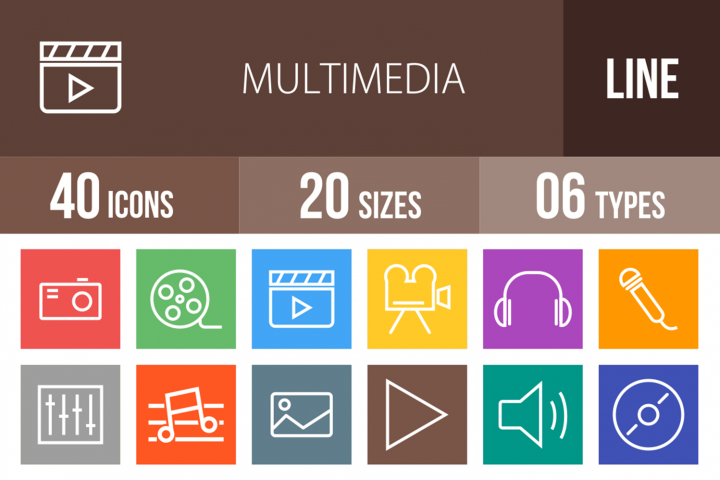 40 Multimedia Line Multicolor B/G Icons