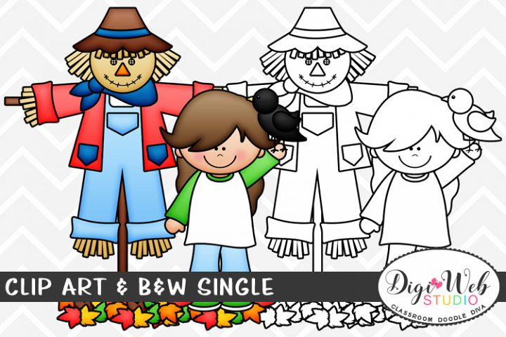 Clip Art & B&W Single - Girl w/ A Scarecrow & Crow in Leaves