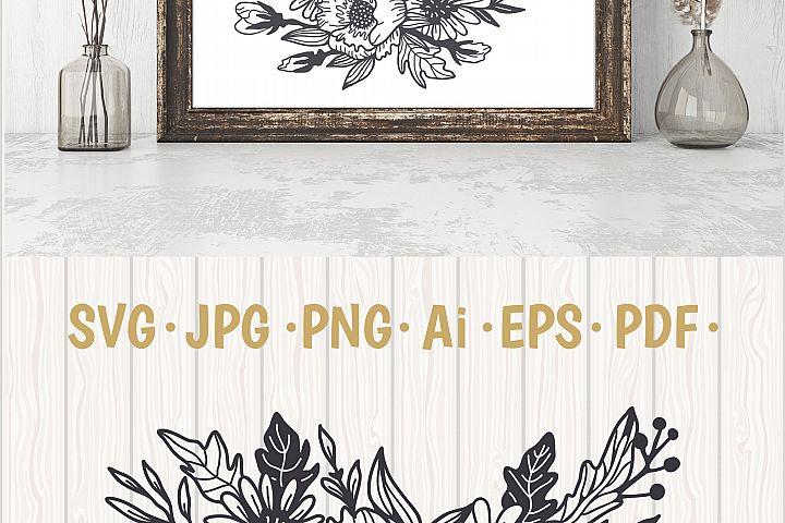 Flower Wreath SVG, Flower monogram svg example 6