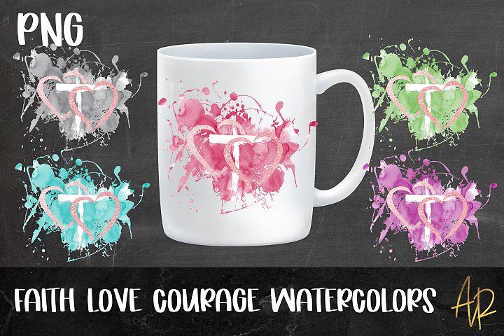 Sublimation LOVE FAITH Background Colour Splashes PNG bundle