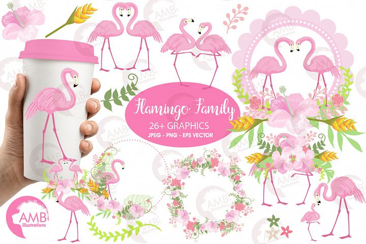 Flamingos clipart mega pack, graphics, illustrations AMB-1047