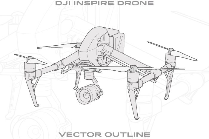 DJI Inspire Drone - Vector Outlines