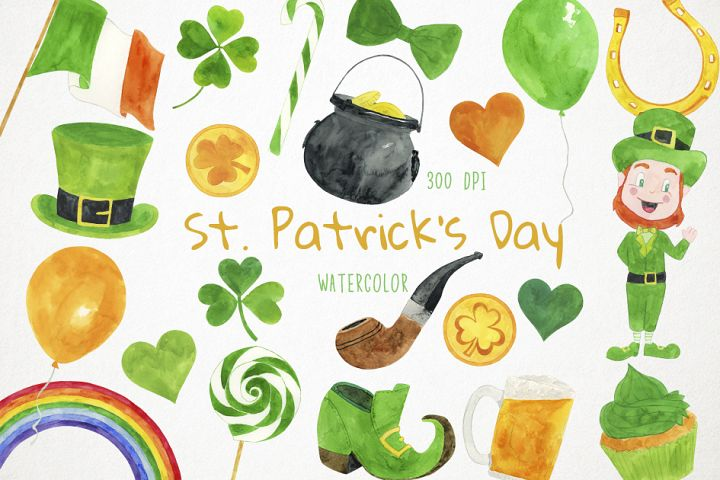 Watercolor St Patricks Day, Irish Clipart
