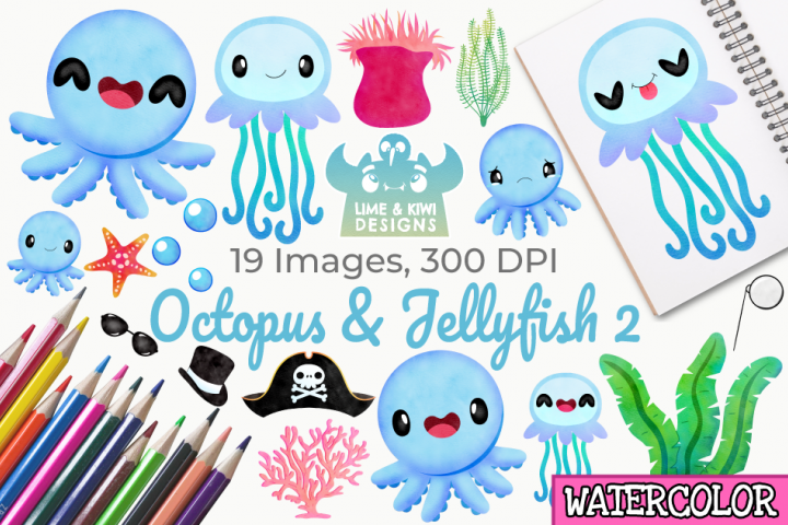 Octopus & Jellyfish 2 Watercolor Clipart, Instant Download