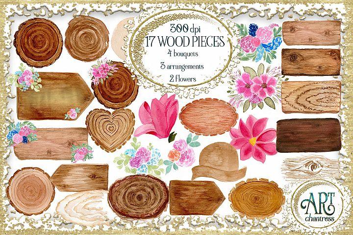 Watercolor Wood Signs , Floral Bouquets , flower arrangement