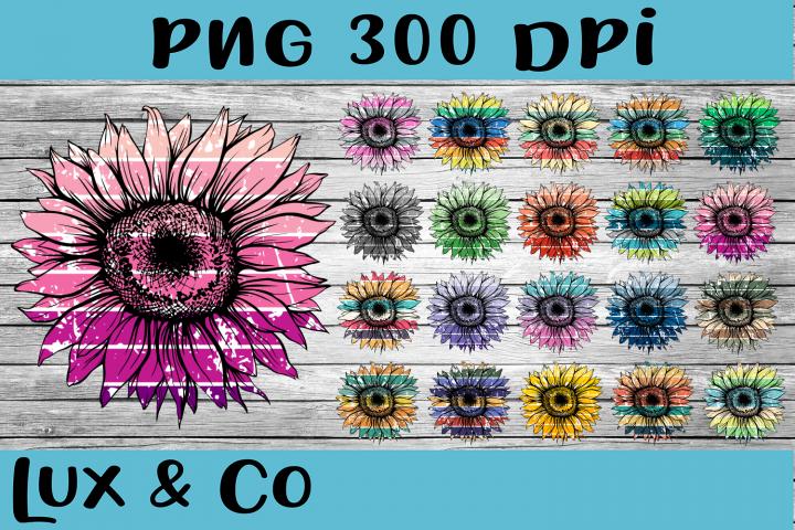 Sunflower Distressed Stripes Bundle Sublimation PNG