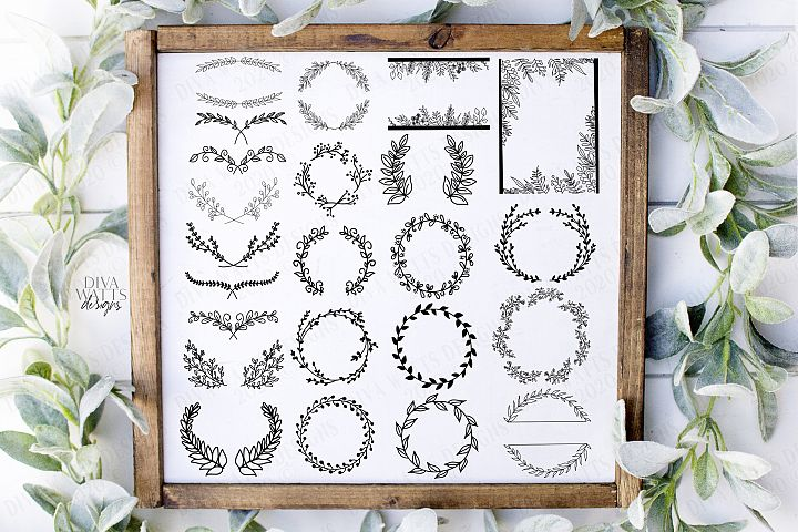 25 Farmhouse Elements Wreaths Swags Laurels SVG PNG Bundle