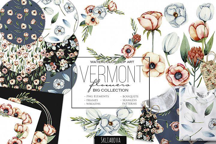Vermont flowers. Big floral clip art.