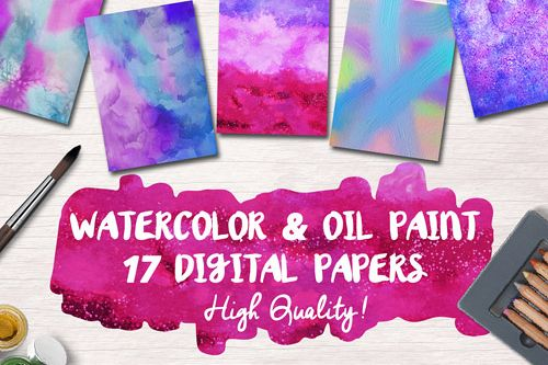 Free Watercolor & Oil Paint 17 Digital Papers example 1