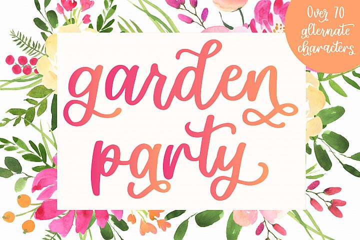 Garden Party, Smooth Script Font With Alternates