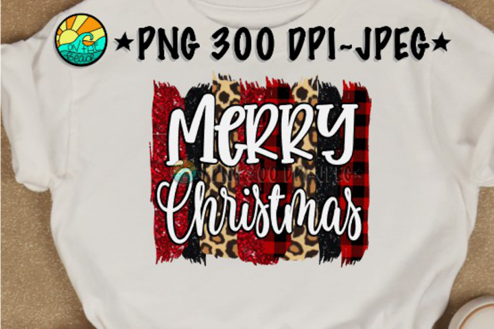 Merry Christmas - Glitter - Plaid - PNG for Sublimation