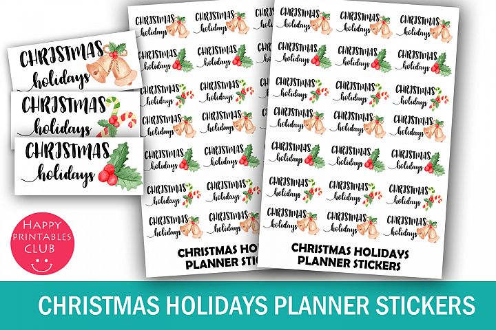 Christmas Holidays Planner Stickers- Christmas Stickers Cute