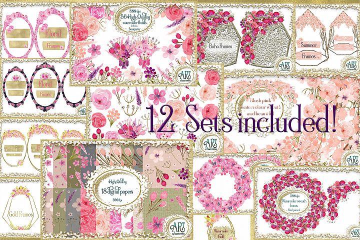 12 Sets Bundle-Graphics&Digital Papers,wreaths,floral frames