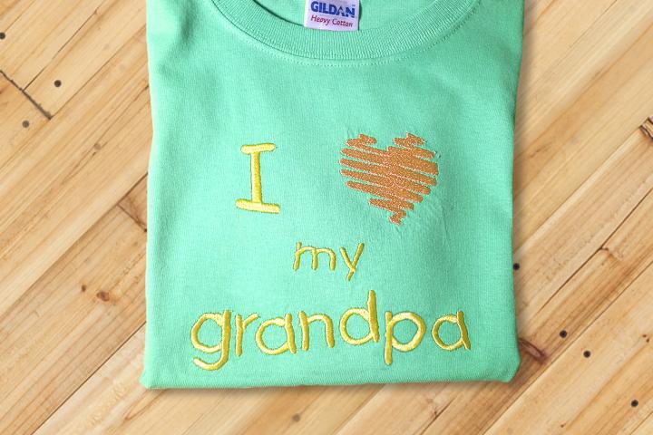 I Heart My Grandpa Embroidery Design