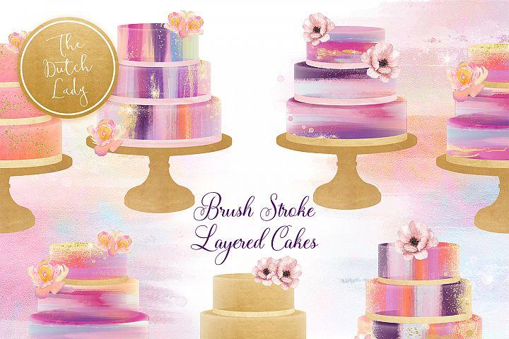 Brush Stroke Marmor Layered Cake Clipart Set