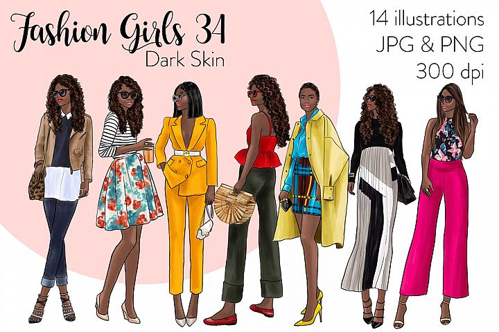 Fashion illustration clipart - Fashion Girls 34 - Dark Skin