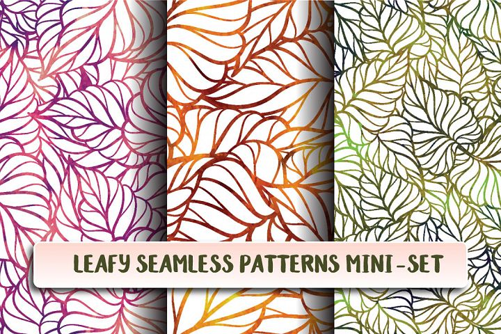 Leafy seamless patterns mini-set
