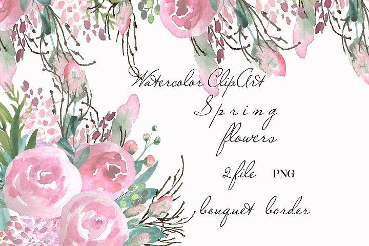 Watercolor Pastel Roses clip art Blush flowers