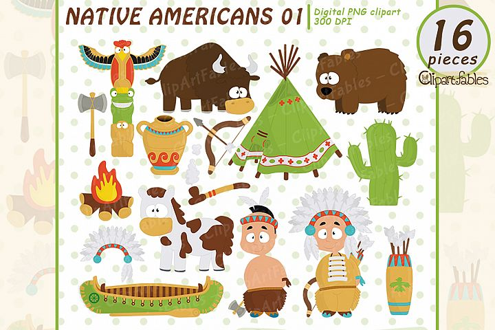 NATIVE AMERICAN clipart, Cute western clip art set - INSTANT