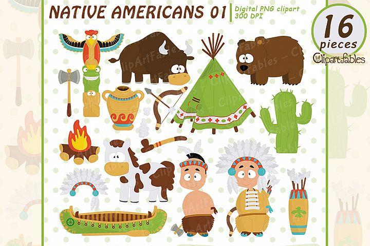 NATIVE AMERICAN clipart, Cute western clip art set - INSTANT