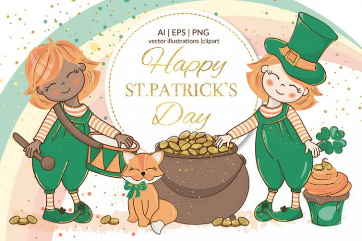 SAINT PATRICK DAY Holiday Vector Illustration Set for Print