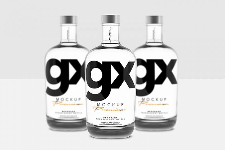 Beverage - Glass - Translucent Bottle - Mockup - Front View