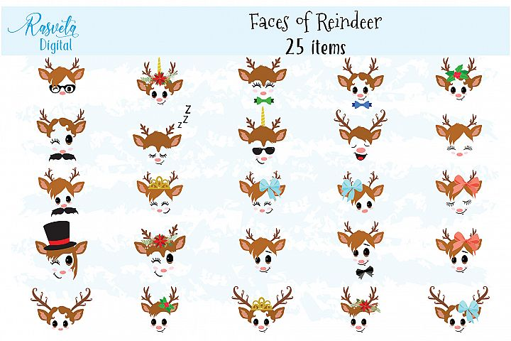 Christmas Decor Reindeer Faces set 2