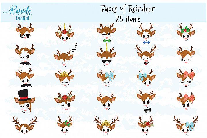 Christmas Decor Reindeer Faces set 2