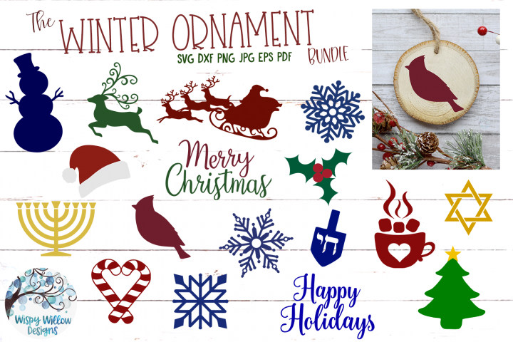 Winter Ornament SVG Bundle | Christmas Ornament SVG Cut File