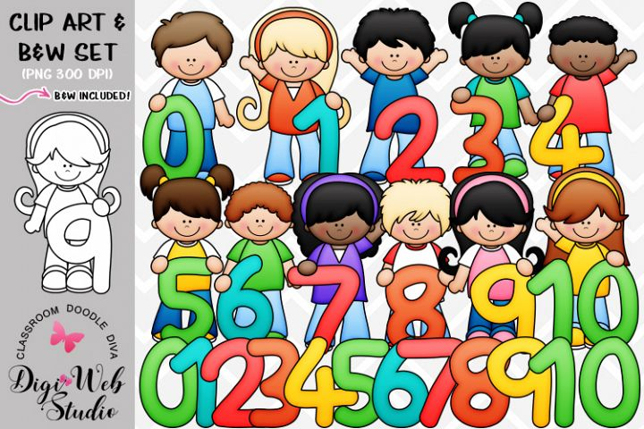 Clip Art / Illustrations - Math Numbers Kids