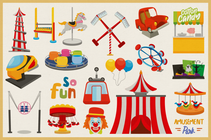 Amusement Park Vector Clipart and Seamless Pattern example image 3