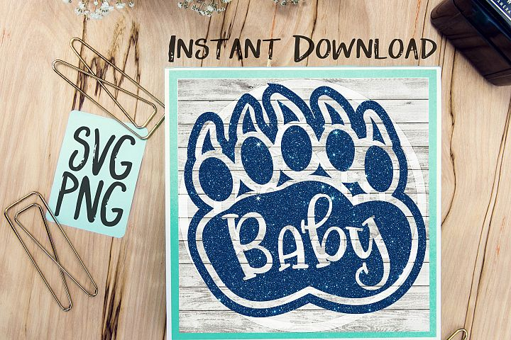 Baby Bear Paw SVG PNG Cricut Cameo Silhouette Brother Scan & Cut Crafters Cutting Files for Vinyl Cutting Sign Making