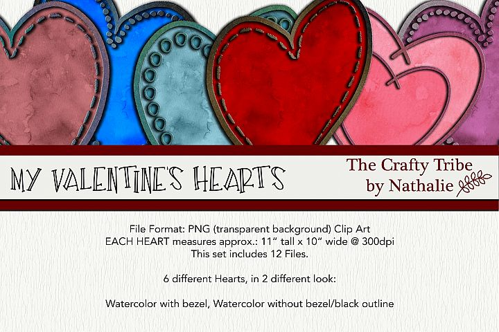Clip Art My Valentines Hearts PNG Watercolor Designs 11x10