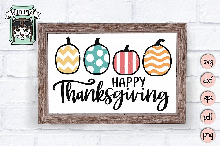 Happy Thanksgiving SVG, Pumpkins, Harvest, Fall, Autumn