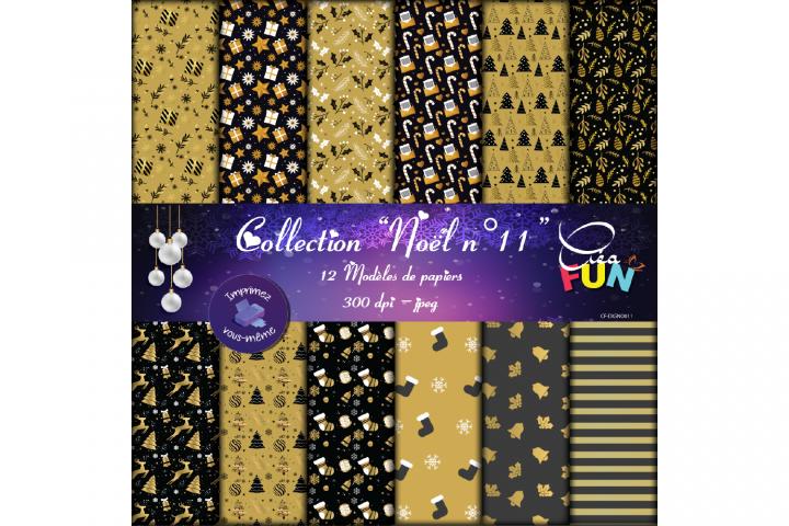 Lot de 12 papiers numériques - Collection Noël 11