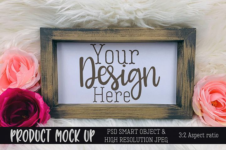 Pretty wood frame Craft mock up | PSD & JPEG