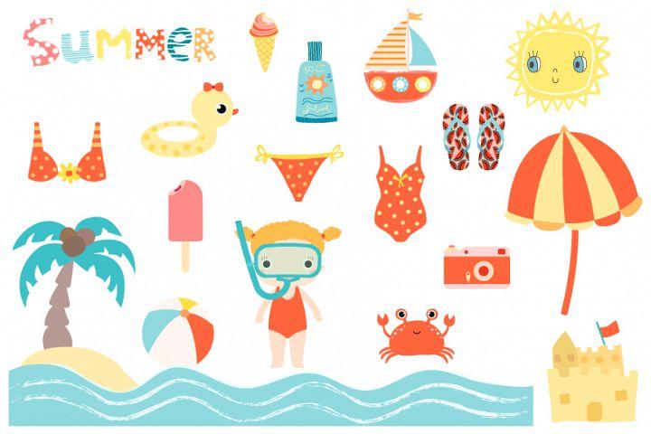 Cute summer beach clip art collection, Children holiday clipart