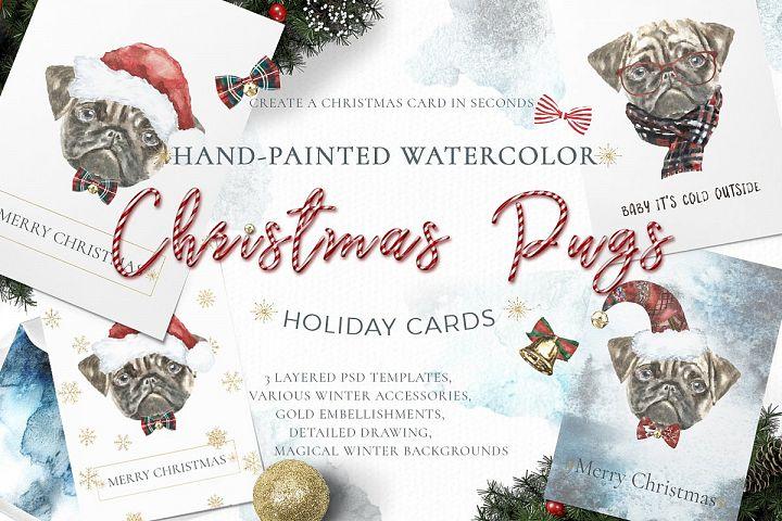 Christmas Watercolor Pug Cards Printable nursery art