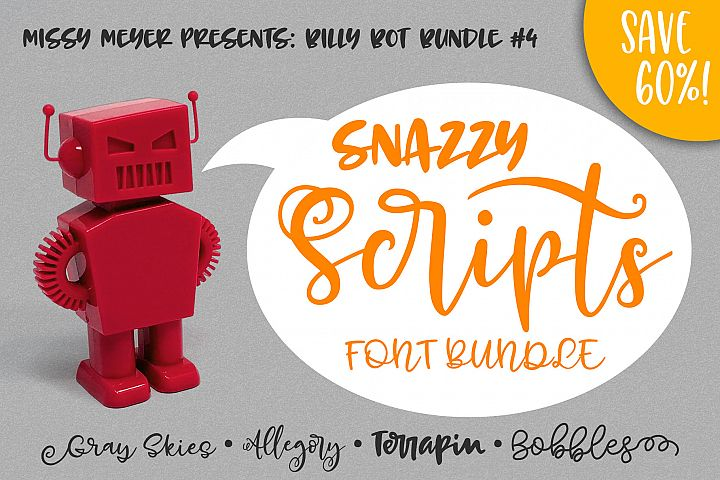 Billy Bot Bundle 4 - Snazzy Scripts Font Bundle!