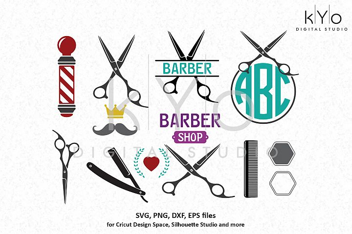 Barber Hairdresser SVG DXF PNG files for Cricut Silhouette